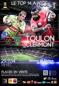 Places RC Toulon / Clermont 29 novembre 2014 à Nice en vente