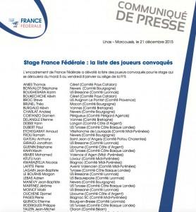 Stage France Fédérale : Steve BROC convoqué