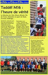 Les Taddeï M16 de Côte d'Azur en quart de finale