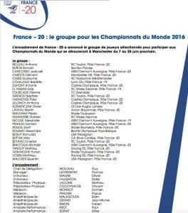 3 toulonnais chez les U20 pour les championnats du monde